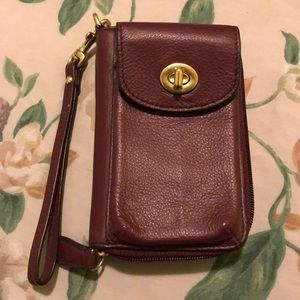 Coach maroon wallet and phone holder wristlet